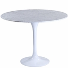 "Modway Lippa 40"" Round Genuine Marble Dining Table in White MY-EEI-512-WHI"