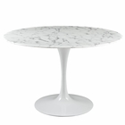 "Modway Lippa 47"" Round Artificial Marble Dining Table in White MY-EEI-1131-WHI"