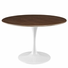"Modway Lippa 47"" Round Walnut Top Dining Table in Walnut MY-EEI-1137-WAL"