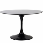 "Modway Lippa 48"" Round Fiberglass Dining Table in Black MY-EEI-119-BLK"