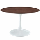 "Modway Lippa 48"" Round Walnut Top Dining Table in White MY-EEI-523-WHI"