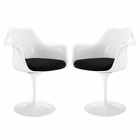 Modway Lippa Dining Armchair Upholstered Fabric Set of 2 in Black MY-EEI-1259-BLK