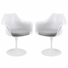 Modway Lippa Dining Armchair Upholstered Fabric Set of 2 in Gray MY-EEI-1259-GRY