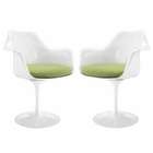 Modway Lippa Dining Armchair Upholstered Fabric Set of 2 in Green MY-EEI-1259-GRN
