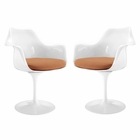 Modway Lippa Dining Armchair Upholstered Fabric Set of 2 in Orange MY-EEI-1259-ORA