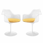 Modway Lippa Dining Armchair Upholstered Fabric Set of 2 in Yellow MY-EEI-1259-YLW