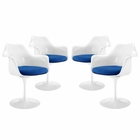 Modway Lippa Dining Armchair Upholstered Fabric Set of 4 in Blue MY-EEI-1260-BLU