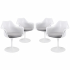 Modway Lippa Dining Armchair Upholstered Fabric Set of 4 in Gray MY-EEI-1260-GRY