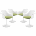 Modway Lippa Dining Armchair Upholstered Fabric Set of 4 in Green MY-EEI-1260-GRN