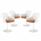 Modway Lippa Dining Armchair Upholstered Fabric Set of 4 in Orange MY-EEI-1260-ORA