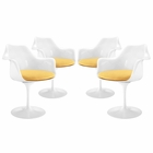Modway Lippa Dining Armchair Upholstered Fabric Set of 4 in Yellow MY-EEI-1260-YLW