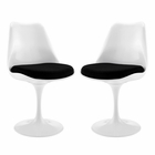 Modway Lippa Dining Side Chair Upholstered Fabric Set of 2 in Black MY-EEI-1343-BLK