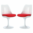 Modway Lippa Dining Side Chair Upholstered Fabric Set of 2 in Red MY-EEI-1343-RED