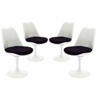 Modway Lippa Dining Side Chair Upholstered Fabric Set of 4 in Black MY-EEI-1342-BLK