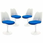 Modway Lippa Dining Side Chair Upholstered Fabric Set of 4 in Blue MY-EEI-1342-BLU