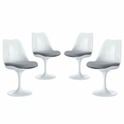 Modway Lippa Dining Side Chair Upholstered Fabric Set of 4 in Gray MY-EEI-1342-GRY