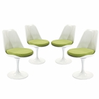Modway Lippa Dining Side Chair Upholstered Fabric Set of 4 in Green MY-EEI-1342-GRN
