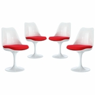 Modway Lippa Dining Side Chair Upholstered Fabric Set of 4 in Red MY-EEI-1342-RED