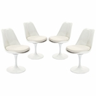 Modway Lippa Dining Side Chair Upholstered Fabric Set of 4 in White MY-EEI-1342-WHI