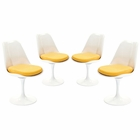 Modway Lippa Dining Side Chair Upholstered Fabric Set of 4 in Yellow MY-EEI-1342-YLW