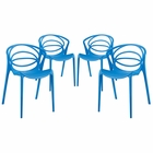 Modway Locus Dining Set Set of 4 in Blue MY-EEI-2336-BLU-SET