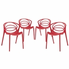 Modway Locus Dining Set Set of 4 in Red MY-EEI-2336-RED-SET