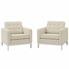 Modway Loft Armchairs Upholstered Fabric Set of 2 in Beige MY-EEI-2440-BEI-SET