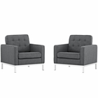 Modway Loft Armchairs Upholstered Fabric Set of 2 in Gray MY-EEI-2440-DOR-SET