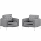 Modway Loft Armchairs Upholstered Fabric Set of 2 in Light Gray MY-EEI-2440-LGR-SET