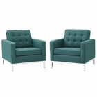 Modway Loft Armchairs Upholstered Fabric Set of 2 in Teal MY-EEI-2440-TEA-SET