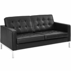 Modway Loft Leather Loveseat in Black MY-EEI-2780-BLK