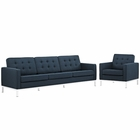 Modway Loft Living Room Furniture Upholstered Fabric 2 Piece Set in Azure MY-EEI-2443-AZU-SET