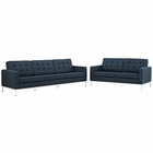 Modway Loft Living Room Furniture Upholstered Fabric 2 Piece Set in Azure MY-EEI-2444-AZU-SET