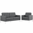 Modway Loft Living Room Furniture Upholstered Fabric 2 Piece Set in Gray MY-EEI-2442-DOR-SET