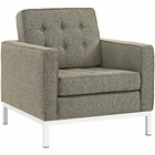 Modway Loft Living Room Furniture Upholstered Fabric 2 Piece Set in Oatmeal MY-EEI-2443-OAT-SET