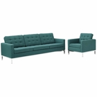 Modway Loft Living Room Furniture Upholstered Fabric 2 Piece Set in Teal MY-EEI-2443-TEA-SET