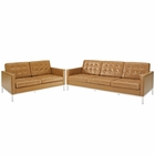 Modway Loft Loveseat and Sofa Leather 2 Piece Set in Tan MY-EEI-1271-TAN