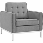Modway Loft Upholstered Fabric Armchair in Light Gray MY-EEI-2050-LGR