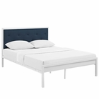Modway Lottie King Fabric Bed in White Azure MY-MOD-5447-WHI-AZU