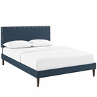 Modway Macie King Upholstered Fabric Platform Bed with Squared Tapered Legs in Azure MY-MOD-5973-AZU