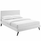 Modway Macie Queen Faux Leather Platform Bed with Round Splayed Legs in White MY-MOD-5962-WHI