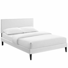 Modway Macie Queen Faux Leather Platform Bed with Squared Tapered Legs in White MY-MOD-5970-WHI
