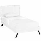Modway Macie Twin Faux Leather Platform Bed with Round Splayed Legs in White MY-MOD-5958-WHI