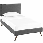 Modway Macie Twin Upholstered Fabric Platform Bed with Round Splayed Legs in Gray MY-MOD-5959-GRY
