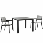 Modway Maine 3 Piece Outdoor Patio Aluminum Dining Set in Brown Gray MY-EEI-1743-BRN-GRY-SET