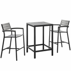Modway Maine 3 Piece Outdoor Patio Aluminum Dining Set in Brown Gray MY-EEI-1754-BRN-GRY-SET