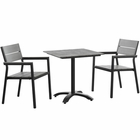 Modway Maine 3 Piece Outdoor Patio Aluminum Dining Set in Brown Gray MY-EEI-1759-BRN-GRY-SET
