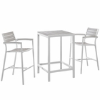Modway Maine 3 Piece Outdoor Patio Aluminum Dining Set in White Light Gray MY-EEI-1754-WHI-LGR-SET