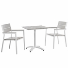 Modway Maine 3 Piece Outdoor Patio Aluminum Dining Set in White Light Gray MY-EEI-1759-WHI-LGR-SET