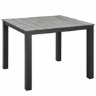 """Modway Maine 40"""" Outdoor Patio Aluminum Dining Table in Brown Gray MY-EEI-1507-BRN-GRY"""